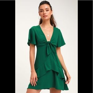 Lulus Jewell Green Tie-Front Ruffled Skater Dres